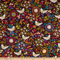 Michael Miller Birds of Norway Espresso Fabric