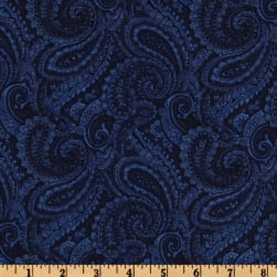 108'' Quilt Backing Complementary Paisley Navy Fabric