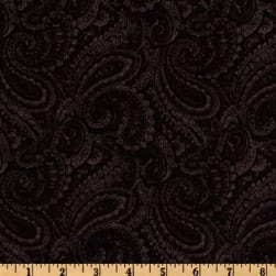108'' Complementary Quilt Backing Paisley Black Fabric