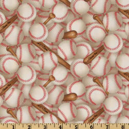 Sports Collection Baseballs Allover White