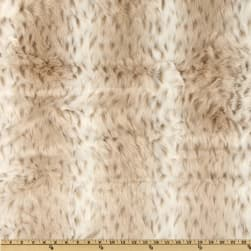 Shannon Faux Fur Snow Leopard White/Taupe Fabric