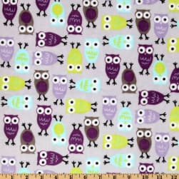 Shannon Kaufman Minky Cuddle Night Owls Saltwater/Viole Fabric