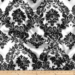 Charmeuse Satin Damask White/Black