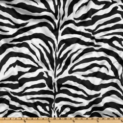 Charmeuse Satin Zebra White/Black Fabric