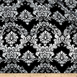 Charmeuse Satin Old Damask Black/White Fabric