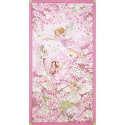 Michael Miller Petal Flower Fairies Panel Pink Fabric