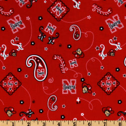 Collegiate Cotton Broadcloth University of Nebraska Bandana Red Fabric