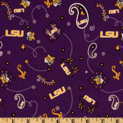 Collegiate Cotton Broadcloth Louisiana State University Bandana Purple