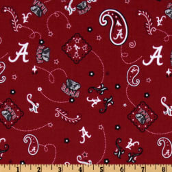 Collegiate Cotton Broadcloth University of Alabama Bandana Red Fabric