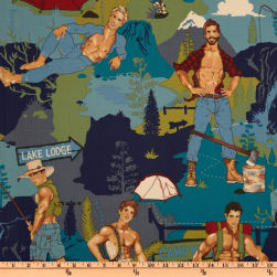 Pin Ups The Outdoorsy Type Teal Fabric