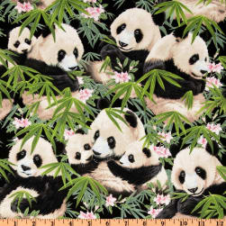 Panda Bears Black Fabric