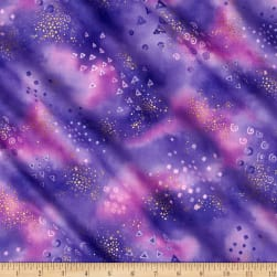 Laurel Burch Basics Glitter Purple Metallic Fabric