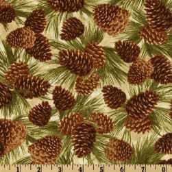 Timeless Treasures Cabin Fever Pine Cones Natural