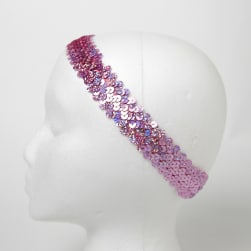 "1 1/4"" Hologram Sequin Stretch Headband  Pink"