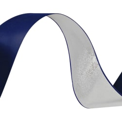 1 1/2'' Reversible Satin Ribbon Metallic Silver/Royal Blue