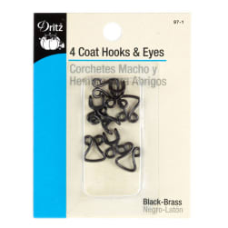 Dritz Black Coat Hooks & Eyes 4/Package.