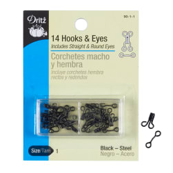 Black Hooks & Eyes Size 1