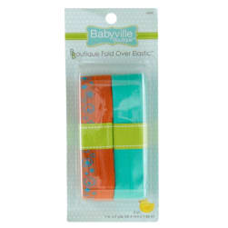 Babyville Boutique Fold Over Elastic Orange/Turquoise