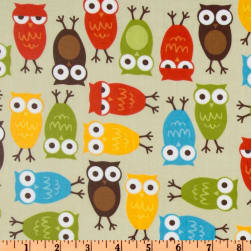 Urban Zoologie Slicker Laminated Cotton Owls Natural Fabric