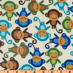 Urban Zoologie Slicker Laminated Cotton Monkies Natural Fabric