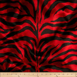 Charmeuse Satin Zebra Red/Black Fabric