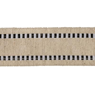 1 1/2'' Wired Natural Burlap Stripe Edge Ribbon Black/White