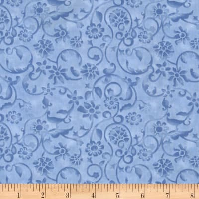 108'' Tonal Scroll Quilt Backing Periwinkle Blue