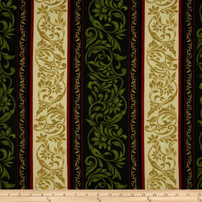 My True Love Gave To Me Damask Border Stripe Green/Cream