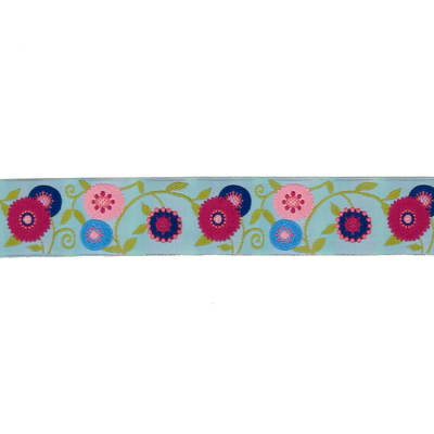 "1 1/2"" Laura Foster Nicholson Suzani Flower Ribbon Light Blue"