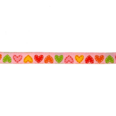 "3/8"" Dena Designs Happi Hearts Ribbon Pink"