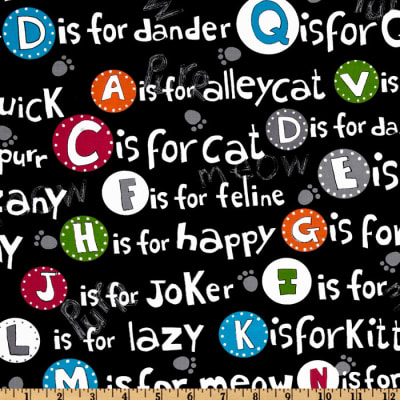 Kanvas C Is For Cat Cat Alphabet Black