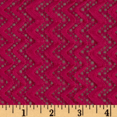 Copacabana Stretch Crochet Chevron Lace Fuchsia