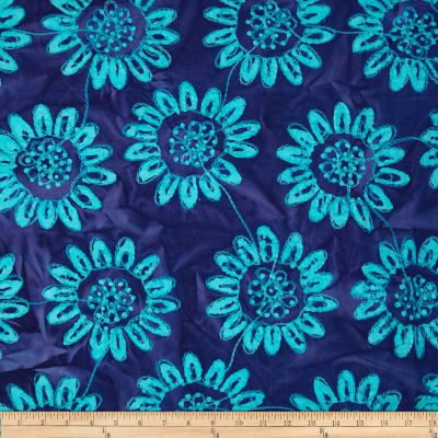 Textile Creations Embroidered Rayon Batik Sunflower Turquoise/Purple