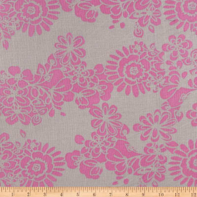 Jonquil Shirting Stencil Floral Pink/Light Grey