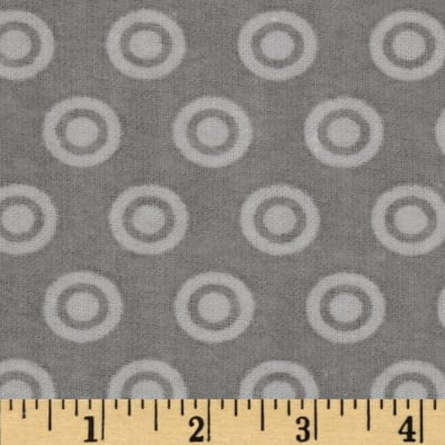 Alpine Flannel Basics Circle Dots Tonal Grey