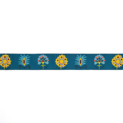 "1-1/2"" Sue Spargo Imperial Blooms On Teal Ribbon Teal"