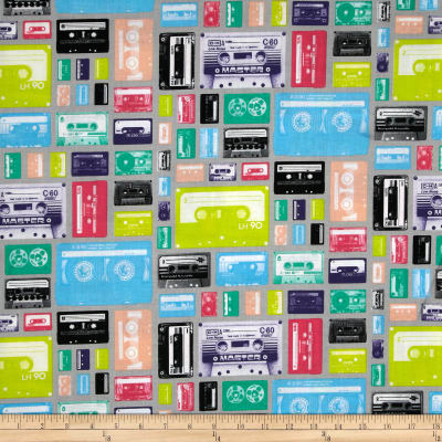 Riley Blake Geekly Chic Cassettes Gray