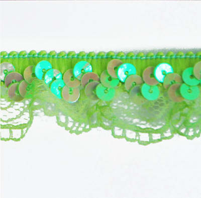 "1"" Stretch Iridescent Sequin And Scallop Ruffle Trim Lime"