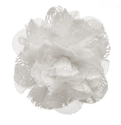 "4"" Lace Flower Brooch And Hairclip White"
