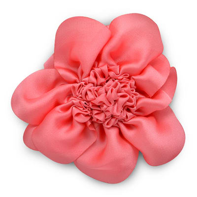 "3"" Ruched Flower Pin And Hairclip Coral"