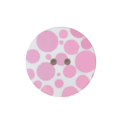 "Dill Novelty Button 3/8""  Pink Dot on White"