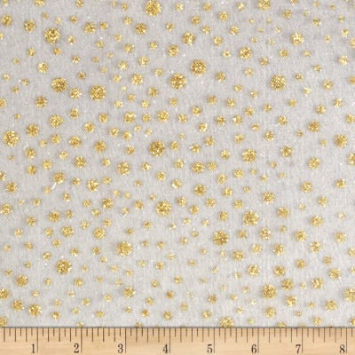 Glitter Dots Tulle White Gold Discount Designer Fabric
