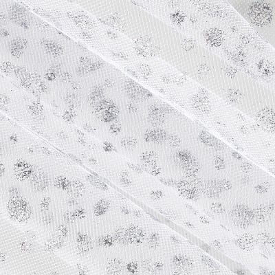 54'' Wide Glitter Dots Tulle White/Silver