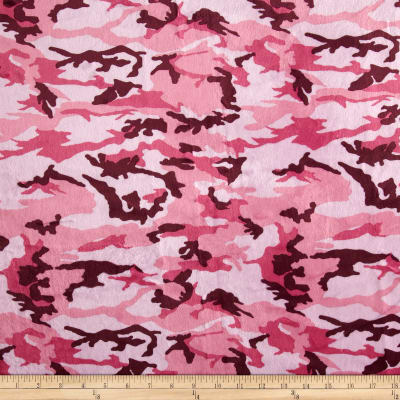 Minky Camouflage Hot Pink