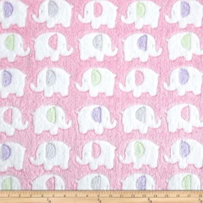 Minky Snuggle Fleece Elephant Pink