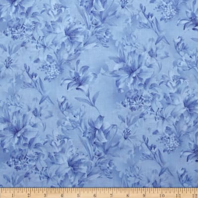 "Day Lily 108"" Wide Quilt Backs Floral Blue"