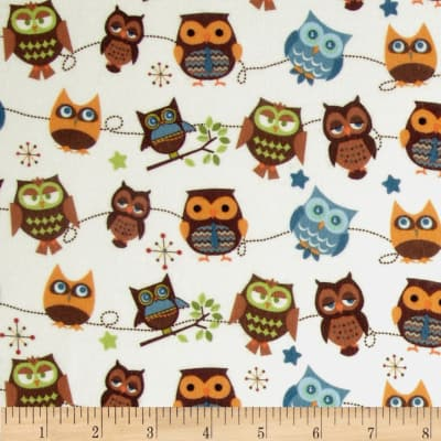 Riley Blake Hooty Hoot Returns Flannel Roll Call Cream