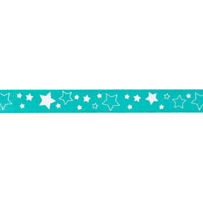 "Riley Blake 3/8"" Grosgrain Ribbon Stars Teal"