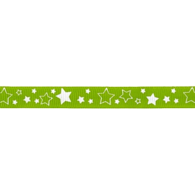 "Riley Blake 3/8"" Grosgrain Ribbon Stars Lime"