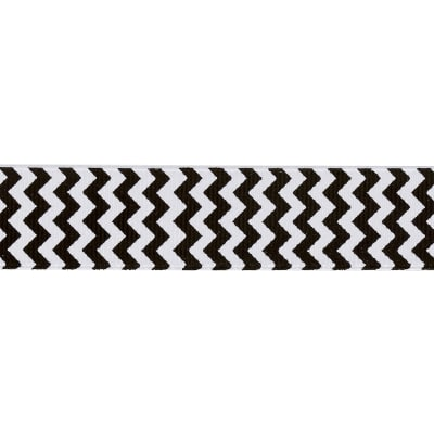 "Riley Blake 7/8"" Grosgrain Ribbon Chevron Black"